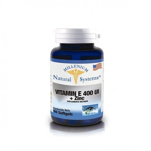 VITAMIN E 400 IU + ZINC x 100 softgels  Millenium Natural Systems