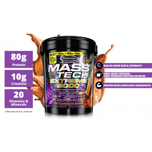Mass Tech Extreme 2000 Performance Series X 22 Libras Muscletech Sabor Chocolate