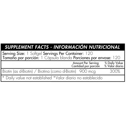 Biotin 900 Mcg (120 Softgels) De Healthy America