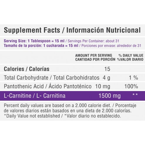 L carnitina liquida 1500 mg x 16 oz. Healthy Sports