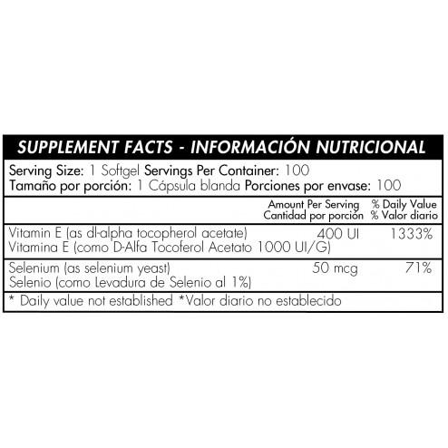 Vitamina E 400 IU Witch Selenium x 60Pildoras Healthy America