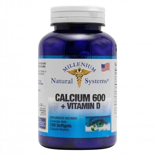 Calcio 600 + Vitamina D3 x 100 Softgels - Natural Systems