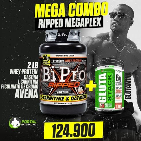 Mega Combo Ripped de Megaplex star bipro ripped 2lb+glutamina glutastack