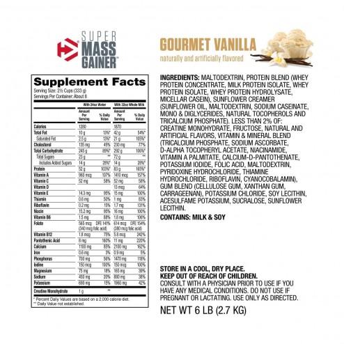 Super Mass Gainer Sabor Vainilla - 6 lbs - Dymatize