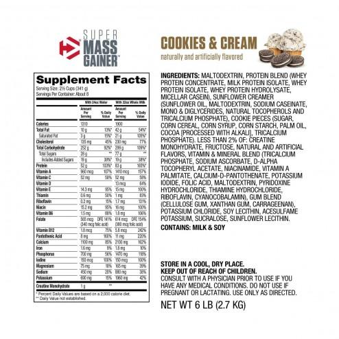 Super Mass Gainer Sabor Cookies & Cream - 6 lbs - Dymatize