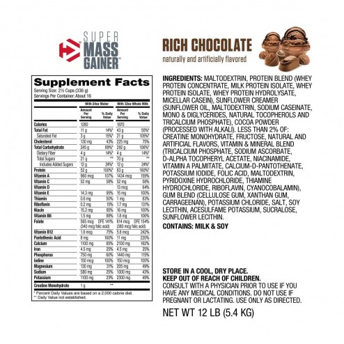 Super Mass Gainer Sabor Chocolate - 12 lbs - Dymatize